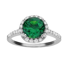 Sophie Miller Simulated Emerald & Cubic Zirconia Sterling Silver Halo Ring