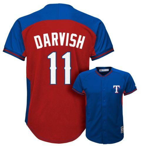 Boys 8-20 Majestic Texas Rangers Yu Darvish Fashion Batting Practice MLB Jersey