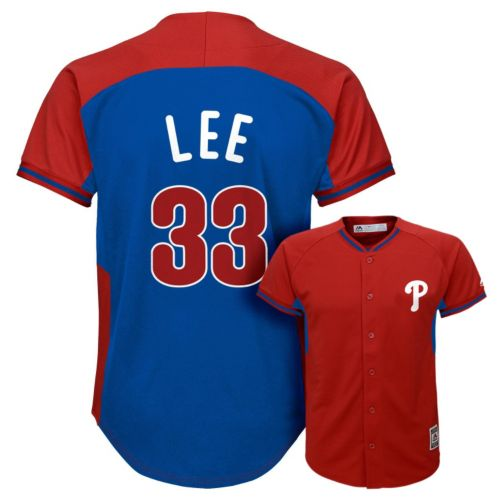 Boys 8-20 Majestic Philadelphia Phillies Cliff Lee Fashion Batting Practice MLB Jersey
