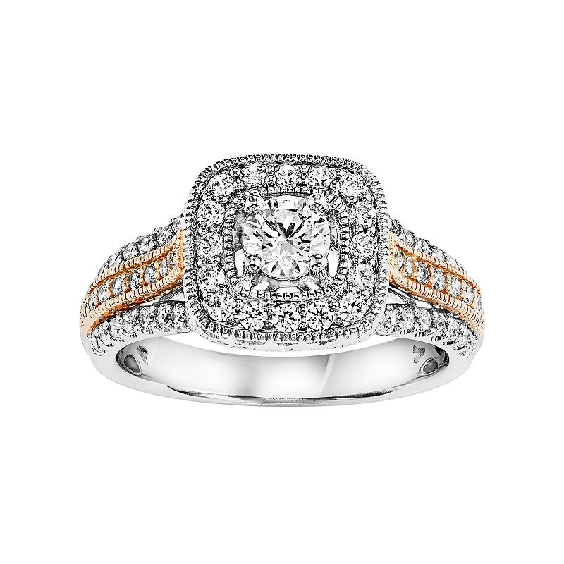 Simply Vera Vera Wang Certified Diamond Square Halo Two Tone Engagement Ring in 14k Gold (7/8 Carat T.W.)