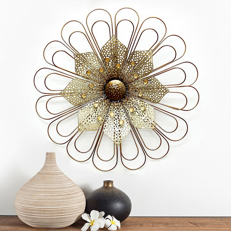 STRATTON HOME DECOR WIRE FLOWER WALL DECOR BEIGE KHAKI