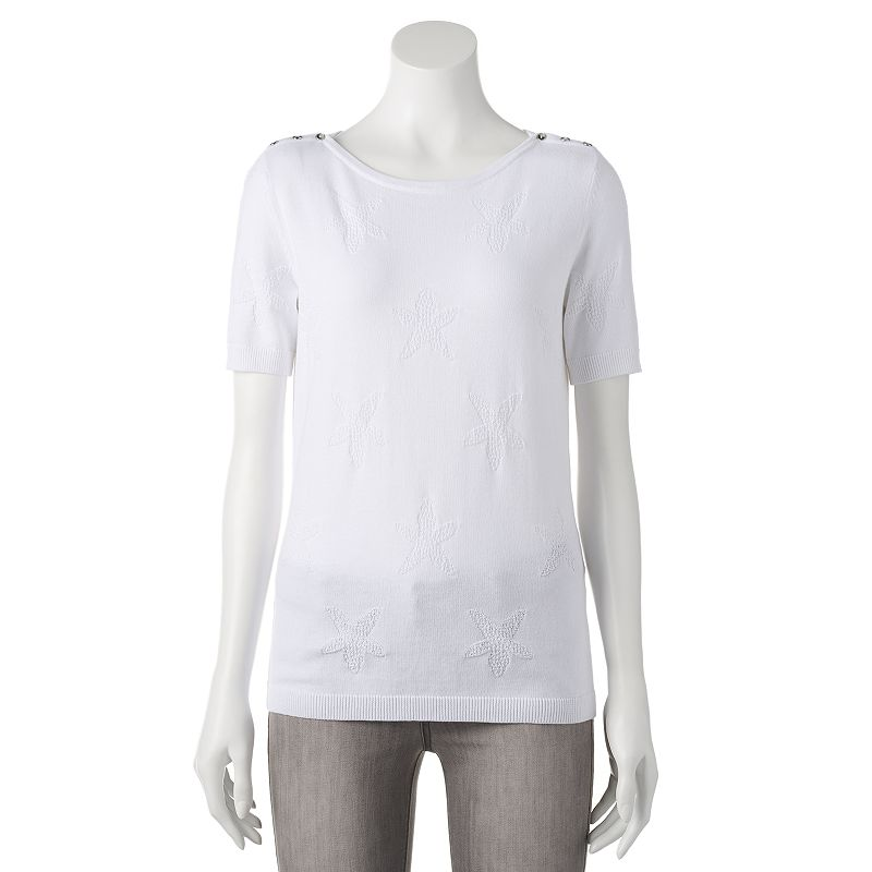 Women's Croft & Barrow® Jacquard Embellished Sweater