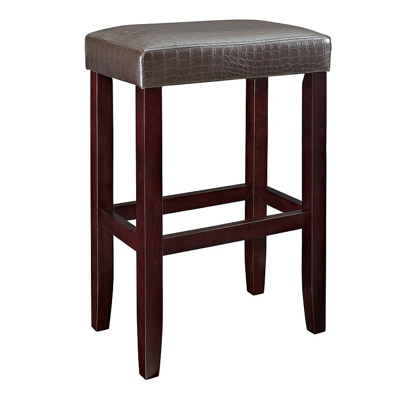 Faux-Leather Bar Stool
