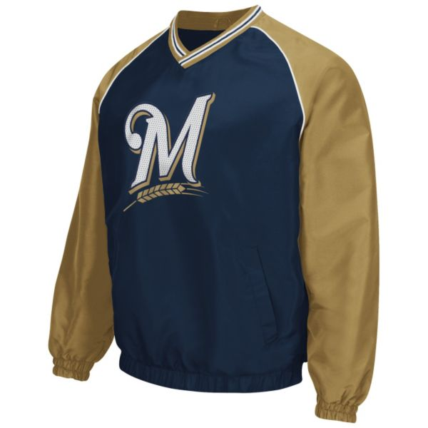 Men's Milwaukee Brewers Pullover V-Neck Jacket