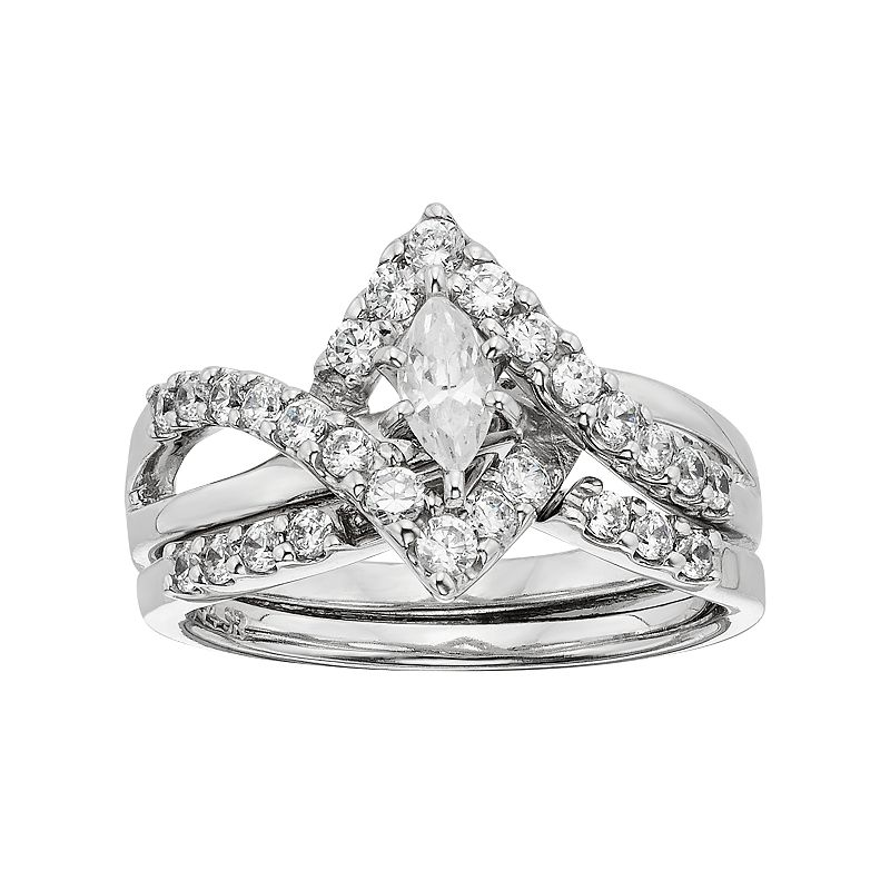 Diamonore Simulated Diamond Marquise Engagement Ring Set in Sterling Silver (1 Carat T.W.)