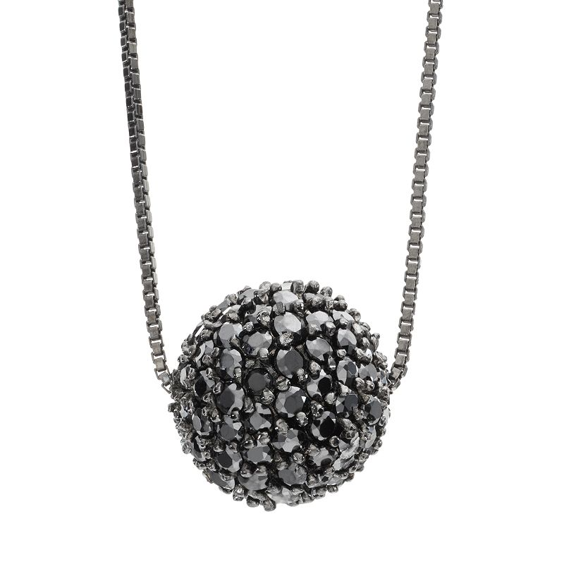 Sophie Miller Cubic Zirconia Black Rhodium-Plated Sterling Silver Ball Pendant Necklace - 16 in.