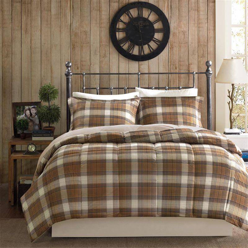 Beige And Brown Plaid Comforter Set