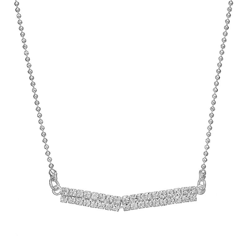 Duchess of Dazzle Crystal Silver Tone Bar Necklace