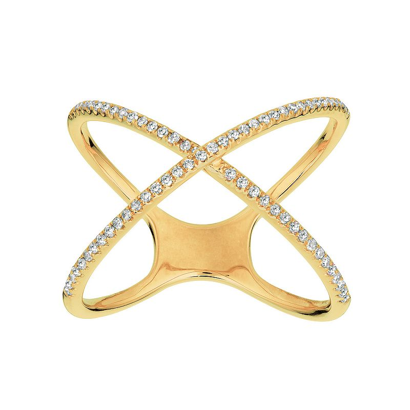 1/5 Carat T.W. Diamond 14k Gold X Ring