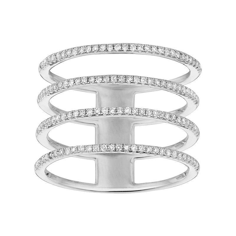 1/3 Carat T.W. Diamond 14k Gold 4-Row Ring