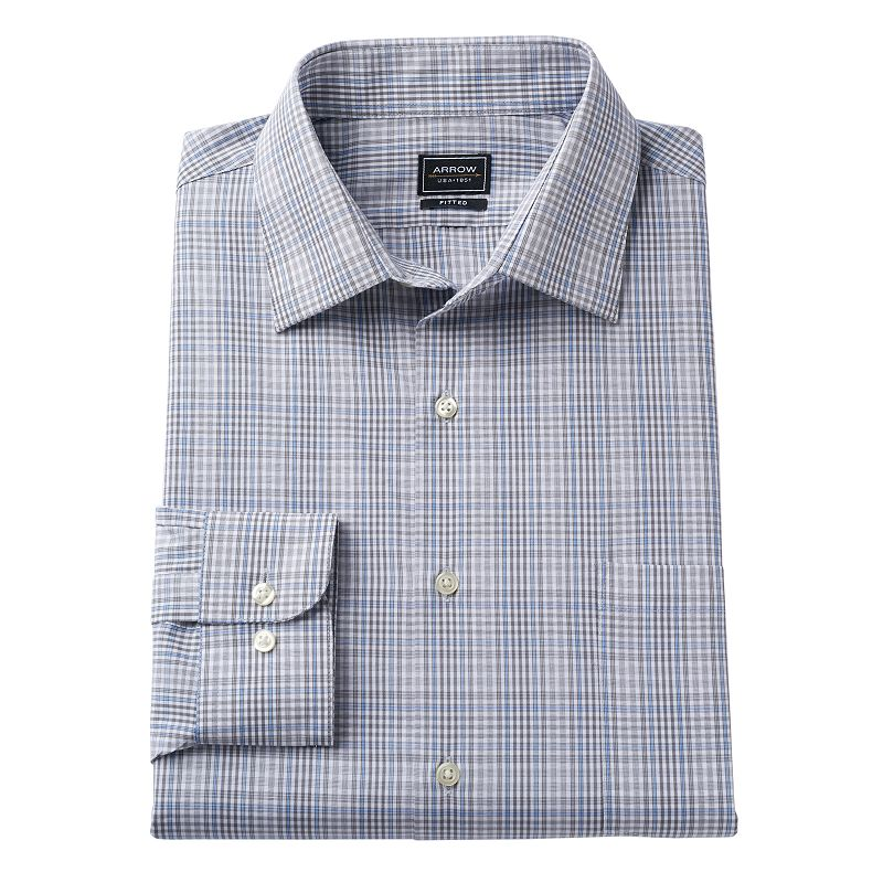 Men's Arrow Fitted Poplin No-Iron Spread-Collar Dress Shirt