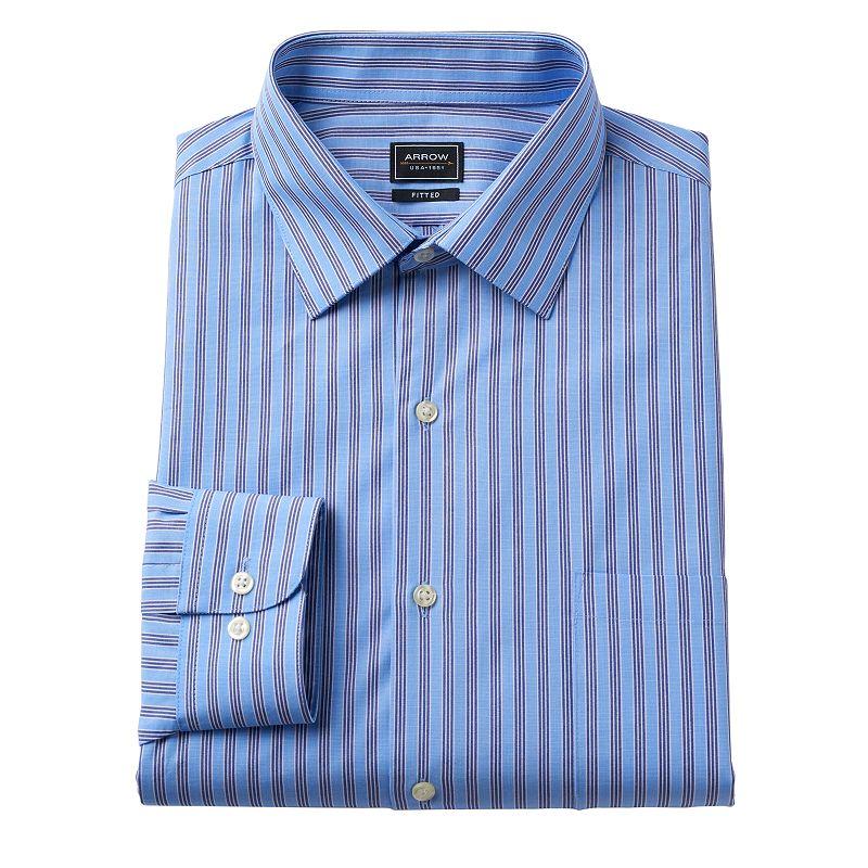 Men's Arrow Fitted Poplin No-Iron Spread-Collar Dress Shirt