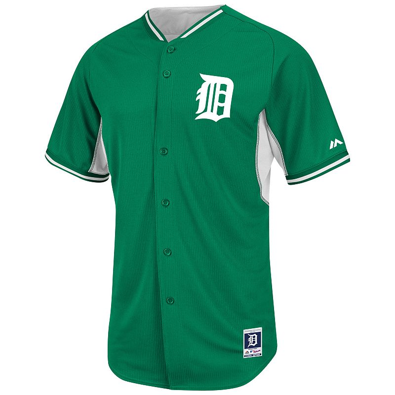 Men's Majestic Detroit Tigers Green Cool Base Batting Practice Jersey