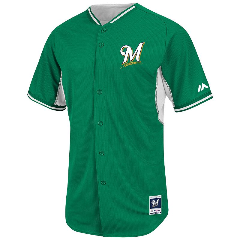 Men's Majestic Milwaukee Brewers Green Cool Base Batting Practice Jersey