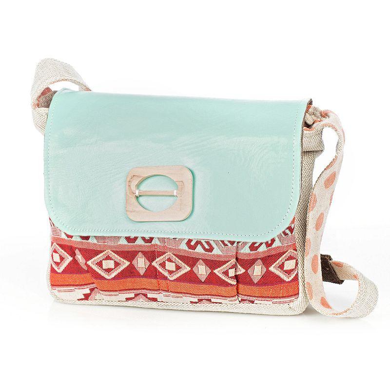 Sage and Harper Pastel Leather Flap Crossbody Messenger Bag