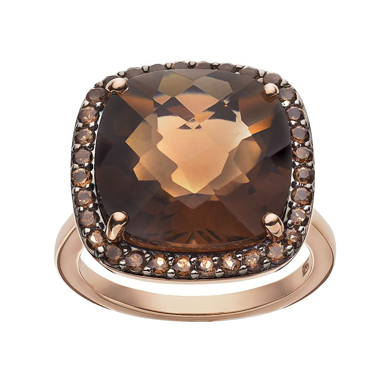 Smoky Quartz 10k Rose Gold Over Silver Square Halo Ring