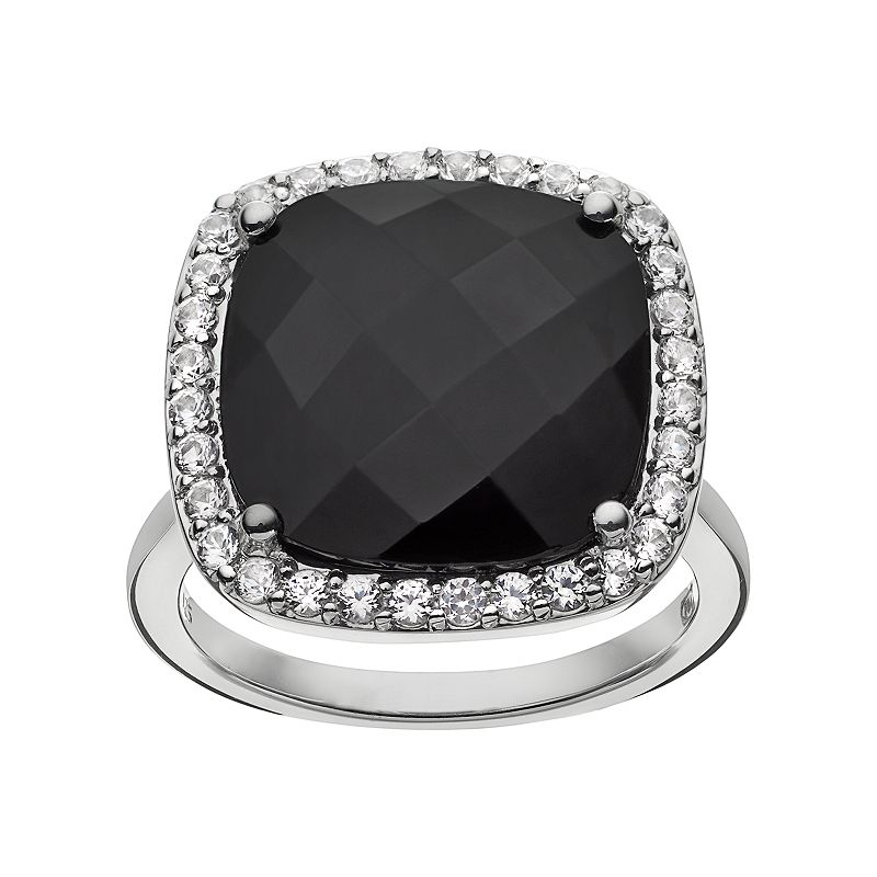 Onyx and Lab-Created White Sapphire Sterling Silver Square Halo Ring