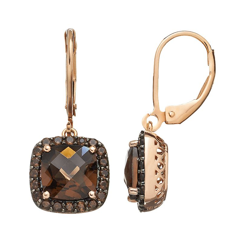 Smoky Quartz 10k Rose Gold Over Silver Square Halo Drop Earrings