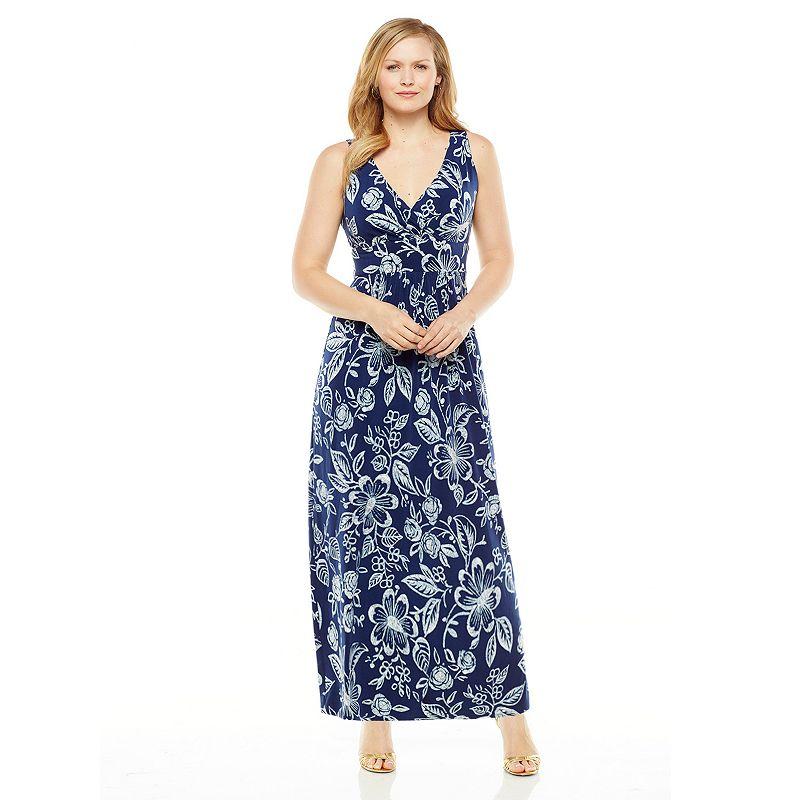 Plus Size Chaps Floral Empire Maxi Dress