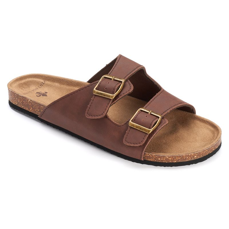 Men's Vintage Stone Double-Buckle Slide Sandals
