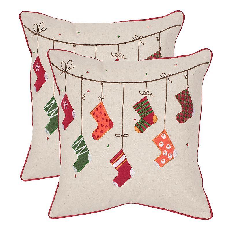 Safavieh Holiday Stockings 2-piece Throw Pillow Set