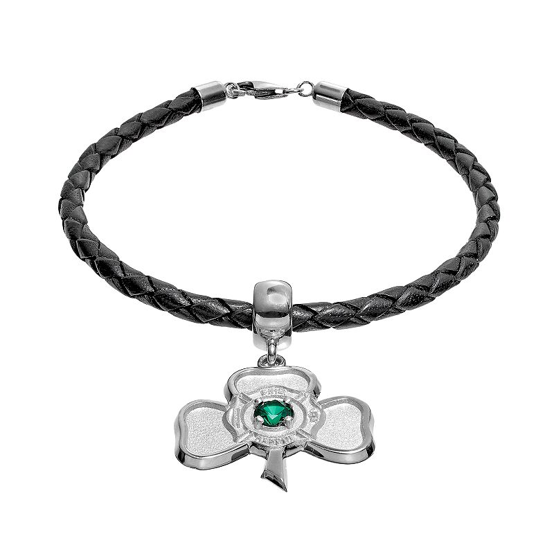 Insignia Collection Simulated Emerald Sterling Silver and Leather Irish Shamrock Maltese Cross Charm Bracelet