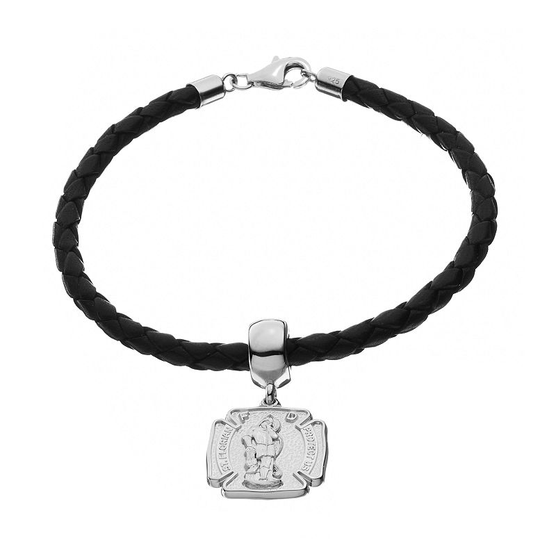 Insignia Collection Sterling Silver and Leather St. Florian Charm Bracelet