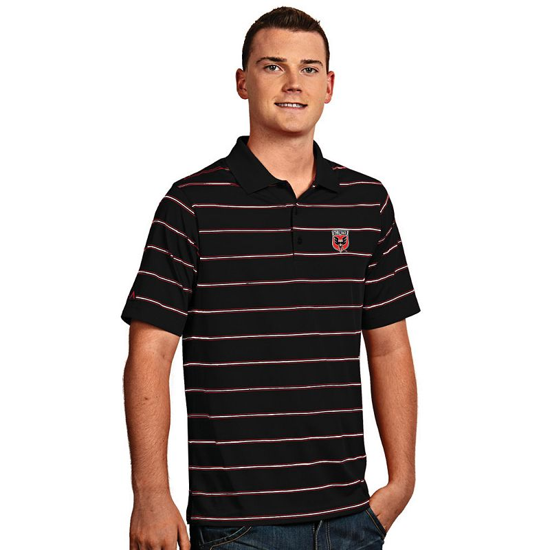 Men's Antigua DC United Deluxe Striped Desert Dry Xtra-Lite Performance Polo