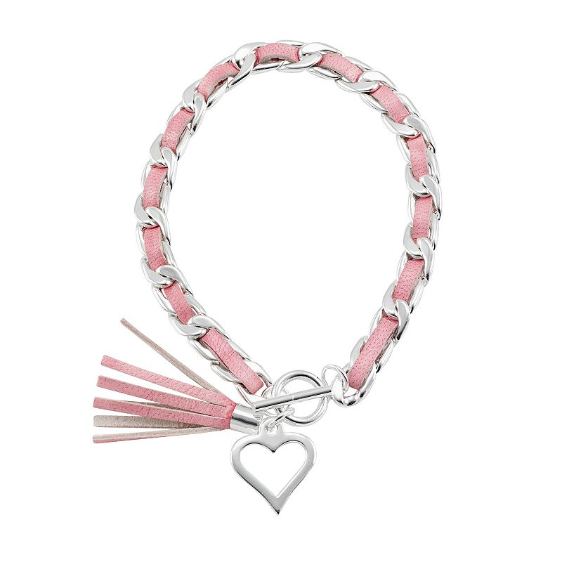 Silver-Plated, Sterling Silver & Leather Heart & Tassel Charm Toggle Bracelet