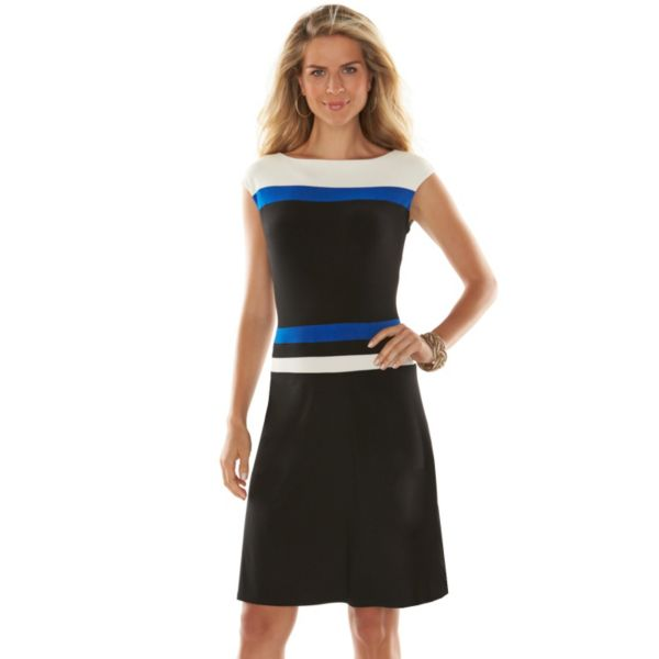 Petite Chaps Striped Colorblock A-Line Dress