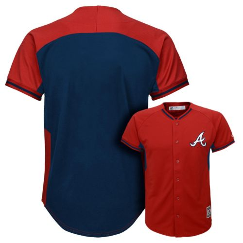 Boys 8-20 Majestic Atlanta Braves Fashion Batting Practice MLB Jersey