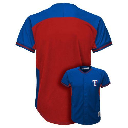 Boys 8-20 Majestic Texas Rangers Fashion Batting Practice MLB Jersey
