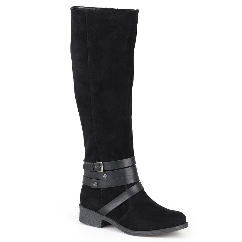 Journee Collection Jagger Womens Two-Tone Strappy Riding Boots