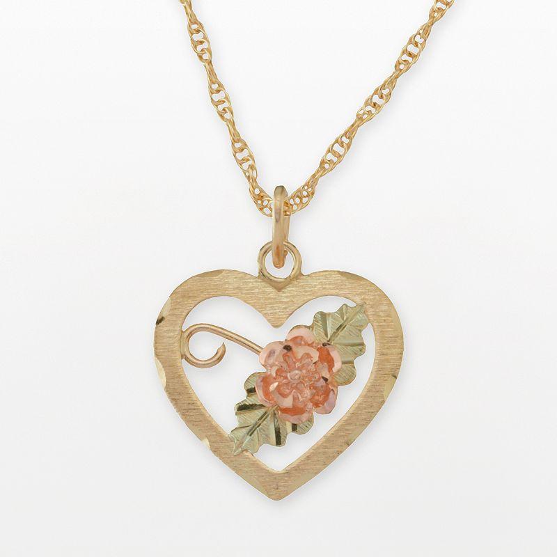 Black Hills Gold Tri-Tone Dakota Rose Heart Pendant