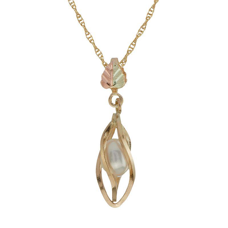 Black Hills Gold Tri-Tone Freshwater Cultured Pearl Cage Pendant