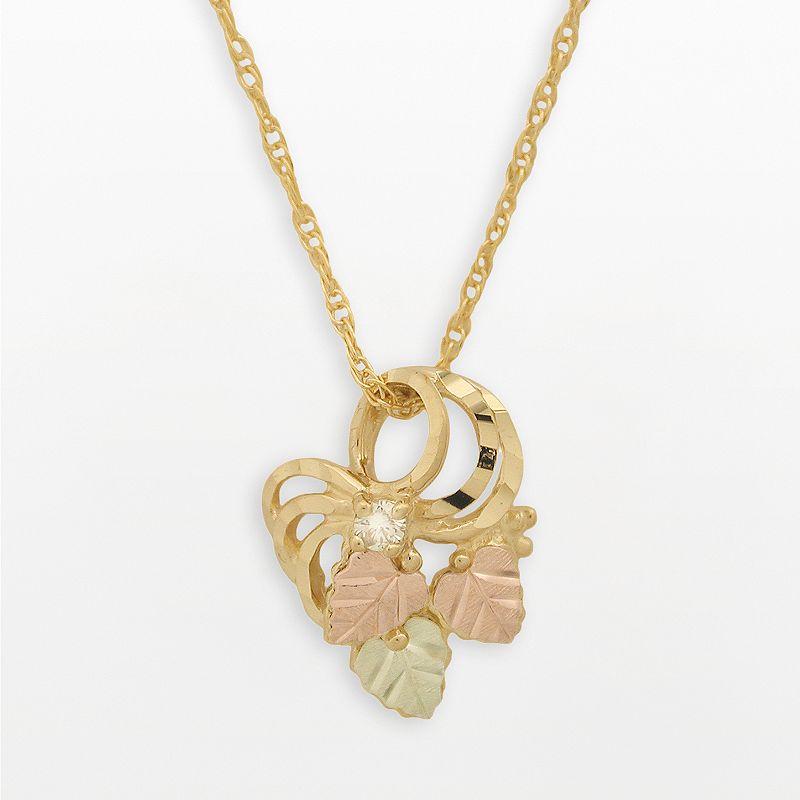 Black Hills Gold Tri-Tone Diamond Accent Leaf Pendant