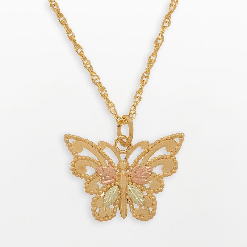 Black Hills Gold Tri-Tone Butterfly Pendant