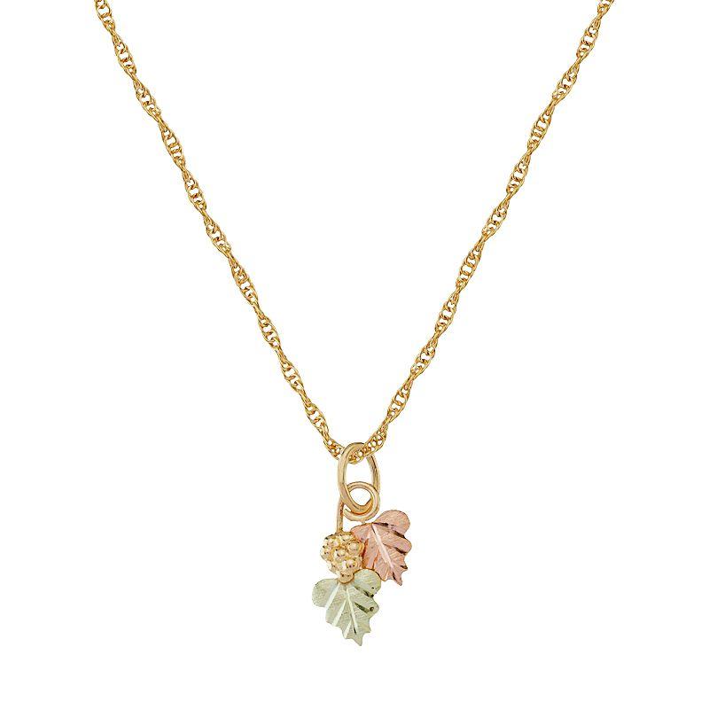Black Hills Gold Tri-Tone Leaf & Grape Pendant