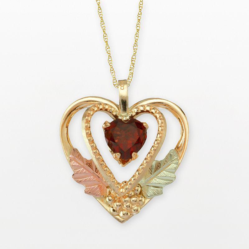 Black Hills Gold Tri-Tone Garnet Heart Pendant