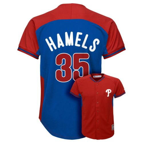 Boys 8-20 Majestic Philadelphia Phillies Cole Hamels Fashion Batting Practice MLB Jersey