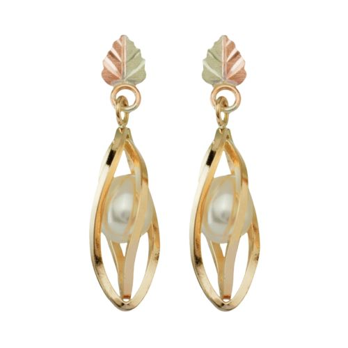 Black Hills Gold Tri-Tone Cultured Freshwater Pearl Drop Earrings