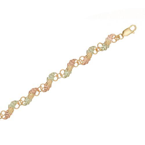 Black Hills Gold Tri-Tone Leaf Bracelet