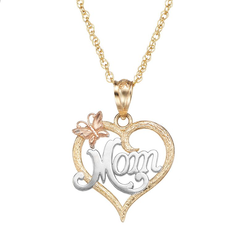 10k gold tri tone openwork heart mom pendant necklace for 10k gold jewelry