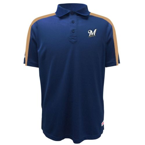 Men's Stitches Milwaukee Brewers Waffle Polo