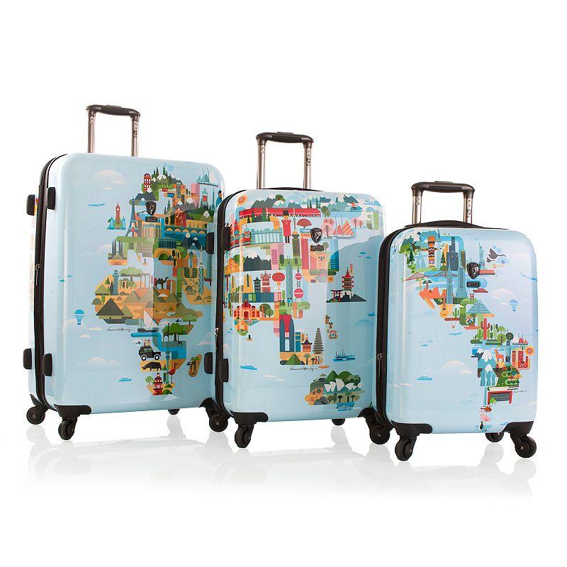 Heys World Map 3-Piece Hardside Luggage Set