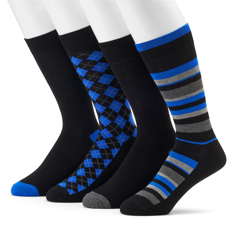 Men's Croft & Barrow® 4-Pack Opticool Striped & Argyle Dress Socks