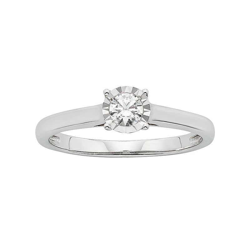 Diamond Solitaire Engagement Ring in 10k White Gold (1/5 Carat T.W.)