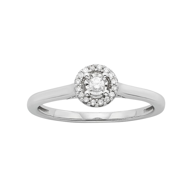 Diamond Halo Engagement Ring in 10k White Gold (1/4 Carat T.W.)