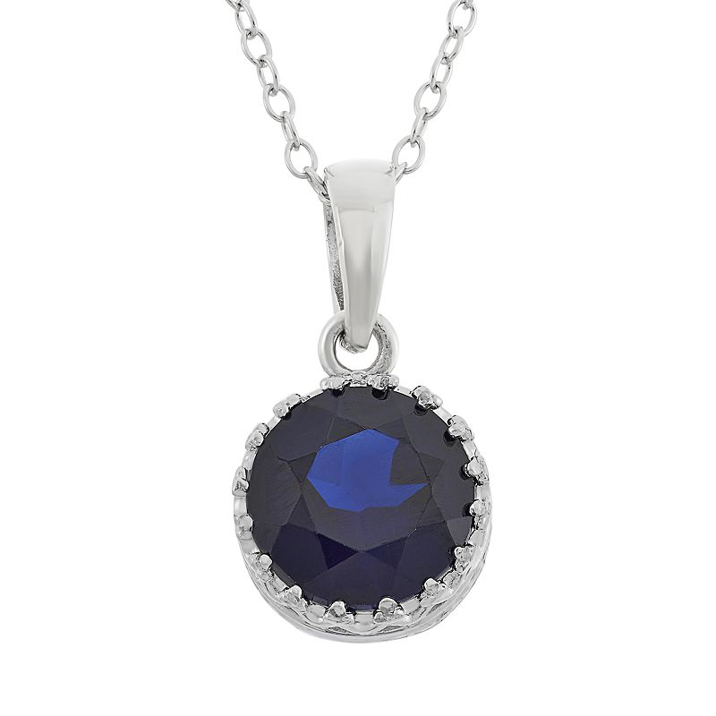 Lab-Created Sapphire Sterling Silver Pendant Necklace
