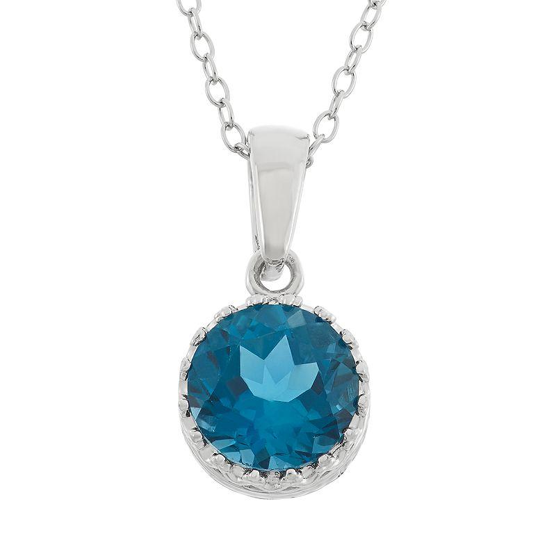 London Blue Topaz Sterling Silver Pendant Necklace